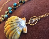 "Rare Hawaiian Moonrise Shell & Pearl 14kt Gold-filled 21"" long  Handmade Necklace, One of a Kind"