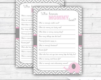 Who Knows Mommy Best, Baby Shower Games, Pink and Gray, Elephant Baby Shower, Baby Girl Shower, Sprinkle, INSTANT DOWNLOAD - Printable