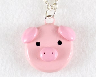 Pink Pig Necklace - Polymer Clay Necklace - Pig Jewelry - Pig Pendant - Polymer Clay Jewelry - Animal Necklace - Polymer Clay Pig