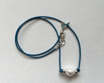 White Pearl on Dark Turquoise Cord