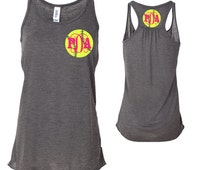 Softball Monogram Racerback Tank, Softball Monogram, Personalized Softball Tank Top