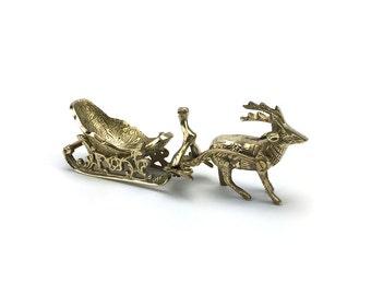 Vintage Brass Reindeer Sleigh - Gold Christmas Decor - Stag Deer Woodlands - Ornate Candy Dish - Hollywood Regency Table Top Mantel - Santa