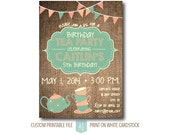 Birthday Invite for a Tea Party- Children's Birthday Party- Printable File- Rustic Invitation with Bunting- DIY File