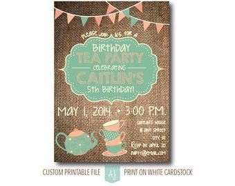 Tea Party, Birthday Invitation- Children's Birthday Party- Printable File