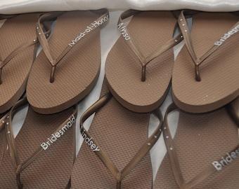 Custom WEDDING Flip Flops, Bridesmaid Flip Flops, Bride Flip Flops, EXTRA Wording (No Tulle) Personalized Flip Flops, Bridesmaid Gift