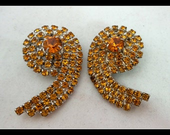 Vintage Earrings  Rhinestone Clip Ons