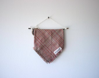 Large Plaid Fringe Dog Bandana- Brick Red
