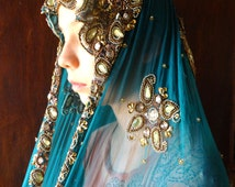 Vintage Silk Sari Zari Paisley Pattern / Turquoise & Maron with Sequined Beaded Metal Wire Threads/ Veil