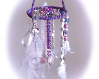 Dreamcatcher mobile, bohemian dreamcatcher, boho decor, pink and blue dreamcatcher, crystal dream catcher,nursery decor,feather dreamcatcher