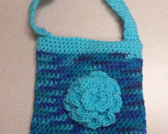 Girls Crochet Purse Teal and Blues