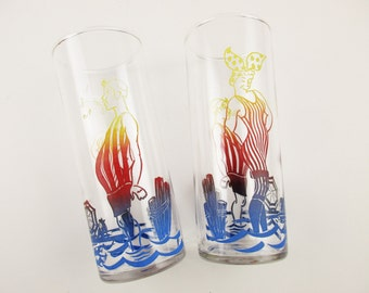 1930s 'Bathers at the Seaside' - A Pair of Stovepipe Glasses - Yellow to Red to Blue Ombre Color - 8 Oz. Drinking Glasses - Federal Glass