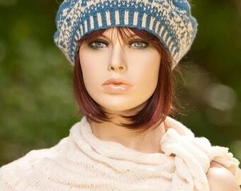 Hand knitted fair isle beret / tam / hat, jacquard beret, flower motifs, indigo and light yellow colors, woolen, for women, for girls.