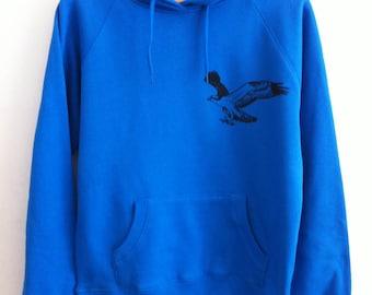 SALE Flying Bird Osprey Womens bright blue printed hoodie