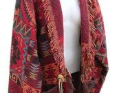 Southwestern Woven Indian Blanket Jacket - Fits Size Medium to Large