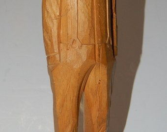 Quebec Folk Art Wood Carving: Man, Habitant, signed Y. LaPointe, 9x2 inches, Canada