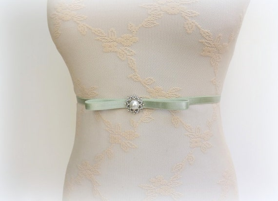 Mint green belt. Bow belt. Light green belt. Silver belt. Rhinestone belt. Pearls belt. Elastic waist belt. Skinny belt. Bridal belt.