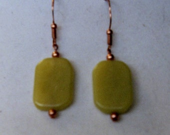 Olive jade and copper earrings