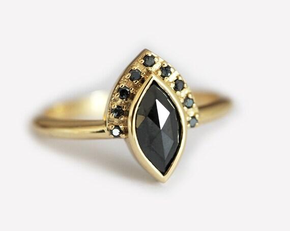 Black Diamond Engagement Ring Marquise Diamond Ring Marquise