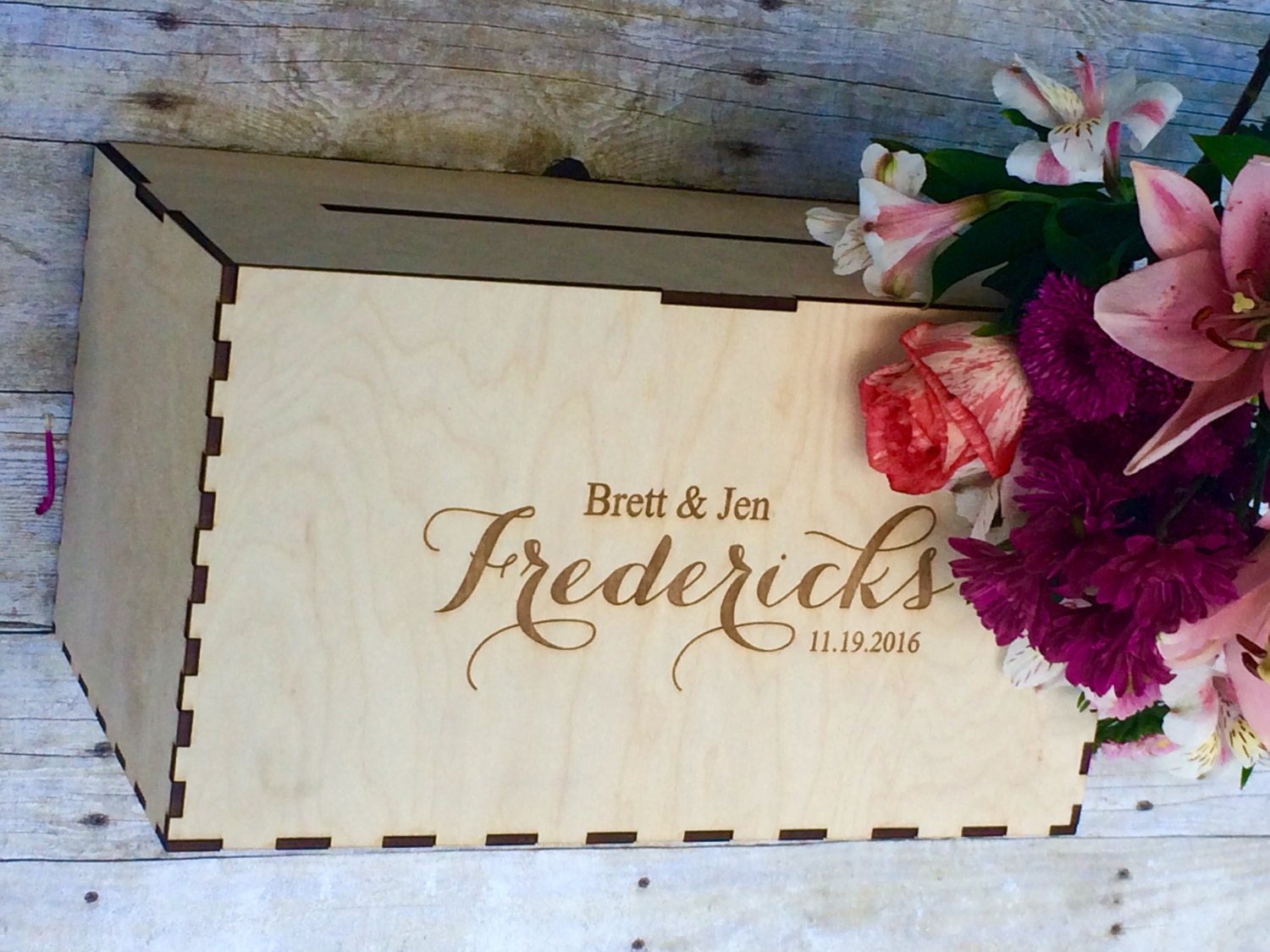 Rustic Wedding Card Box Holder Decor Personalized For With Slot