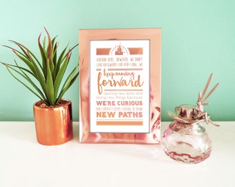 Inspirational Quote Keep Moving Forward Rose Gold Print