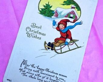 "Vintage Christmas Postcard ""Best Christmas Wishes"" Xmas Card ca.1913"