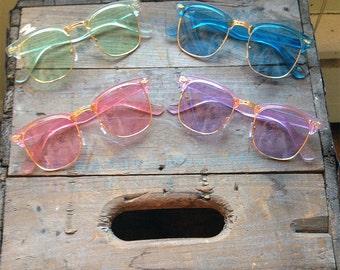 90s Purple Pastel Clubmaster Sunglasses Retro Nerdy Clear Glasses