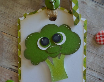 Vegetable Gift Tag, Vegetarian Gift, Broccoli Gift, Veg Out, Health Nut, Healthy Eating,Gardener Gift, Farmers Market, Farm to Table, Food