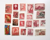 Collection of Vintage Postage Stamps - Red Burgundy - Scrapbook Paper Ephemera Craft - Set of 20 Used Stamps