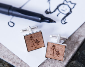Personalised Engraved Drawing Cufflinks - Wooden Cufflinks - Customised Cufflinks - Gift for Dads - Engraved Cufflinks - Father's Day Gift