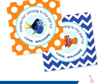 Finding Dory Party Favors - Custom Finding Dory Birthday Party Favors - Finding Nemo Party Favor Tags