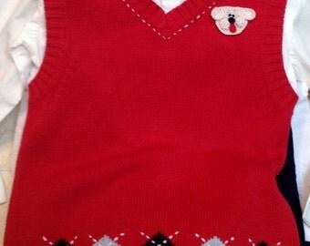 Boys Toddler Red Cream Blue Argyle Sweater Vest Shirt Pants -  Handmade Puppy Dog - One Size:  5T