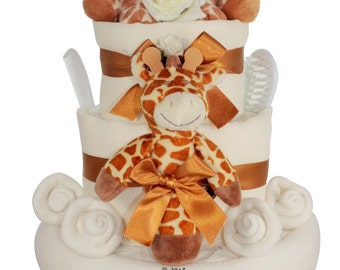 Deluxe New Baby Nappy Cake with giraffes and keepsake capsule