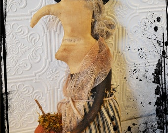 Extreme Primitive Folk Art Halloween Witch Cloth Doll -  Stump Doll with Pumpkin
