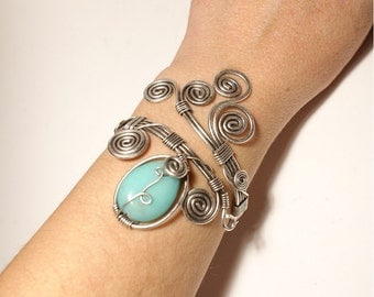 Aventurine Bracelet, Gemstone Bracelet, Wire Wrapped Bracelet, Wire Wrapped Jewelry, Silver Wire Jewelry, Wire Jewelry, Aventurine jewelry