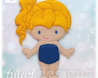 Iris Felt Paper Doll Toy Digital Design File - 5x7