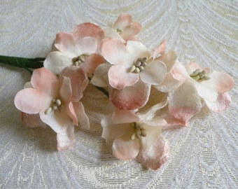 Silk and Velvet Millinery Flowers White Peach Pink Spray of Six for Hats Corsage Scrapbooks Crafts 1FN0001P