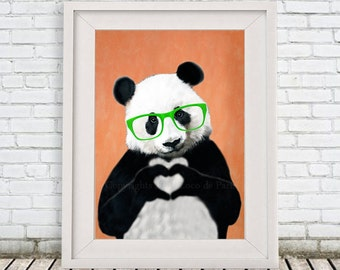 Happy Panda painting, print from my original Panda acrylic painting, nice gift for Christmas, Finger Heart artwork by Coco de Paris