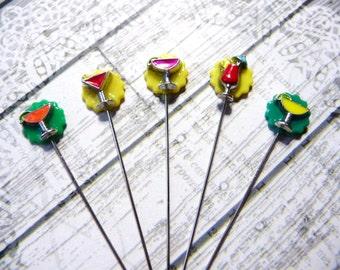 5 Cocktail Drinks Handmade Decorative 2 inch Stick Pins - Sewing Quilting Pins - Scrapbook Card Embellishment Pins - QPMC1