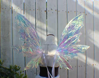 Custom Large White Iridescent 6 Wing Woodland Fairy inspired Wings