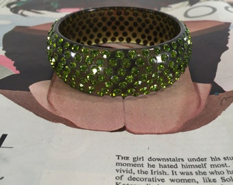 Vintage Clear Green Rhinestone and Lucite Bangle Bracelet -- Multiple Rows of Sparkling Stones!