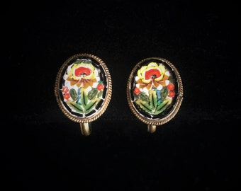 Antique Micro Mosaic Flower Screw Back Earrings - Marked FAP
