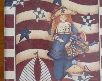 Pipsqueaks X 1998 by Kathi Walters-  ink and wash,tole painting,decorative painting,folk art,hardware store,ornaments,stars and stripes:1503