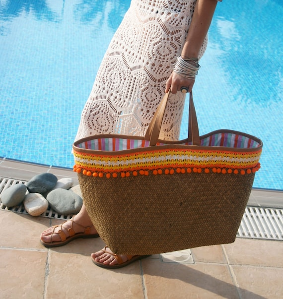 Straw Bag Pom Pom. Large Straw Beach Bag. Straw Tote with