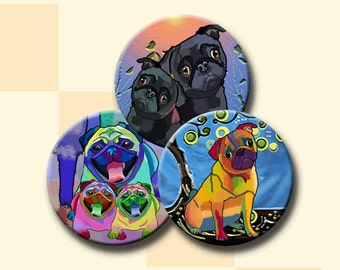 FUNKY PUG DOGS -  2.5 inch Digital Collage Sheet for Pocket Mirrors, Magnets, Paper Weights - Instant Download #227.