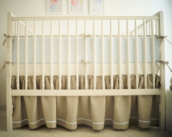 Linen crib  bedding for a boy -  skirt and 4 side bumper