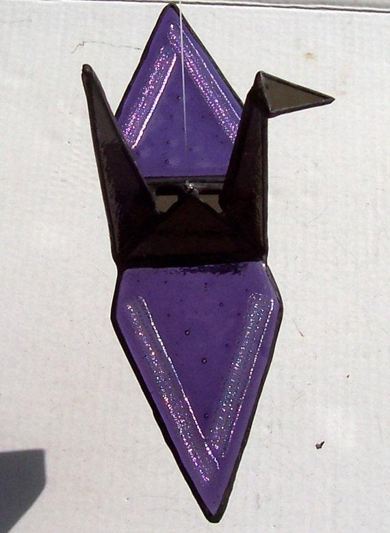 Stained Glass & Dichroic Glass, Origami Glass Crane, Tsuru, Hanging Suncatcher, Symbol of Peace, Prosperity, Fidelity, Longevity, Gift