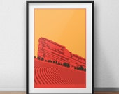 """Red Rocks Poster • 3 colors • 12""""x18"""""""