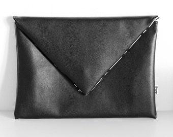 Black Envelope Clutch, Faux Leather, Envelope, Foldover Clutch, Chevron Interior, Clutch, Bag, Purse,