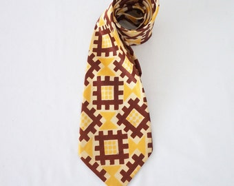Vintage 40s Silky Graphic Necktie Retro Menswear Tie