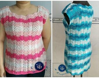 Crocheted candy ripple tee - free worldwide shipping